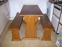 Table and two benches - ideal for kitchen