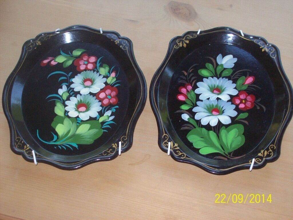 Vintage Russian Hand Painted Floral Decorative Plates ( with plate hangers) & Vintage Russian Hand Painted Floral Decorative Plates ( with plate ...