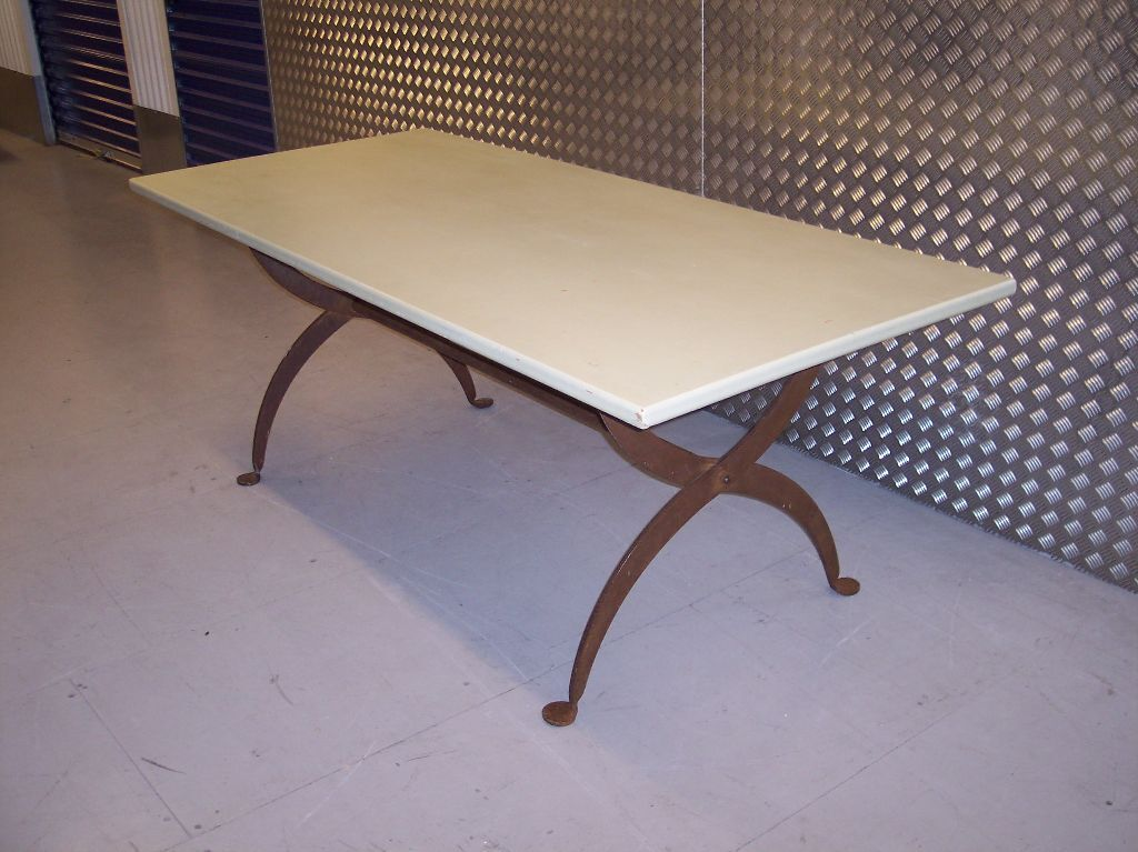 Large CONRAN Refectory Trestle Dining Table Thick Solid Oak Intricate Steel  Legs.Seats 8
