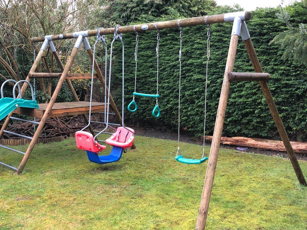 TP Round Wood Triple Swing Set With Slide And Climbing Rope | In Guildford,  Surrey | Gumtree