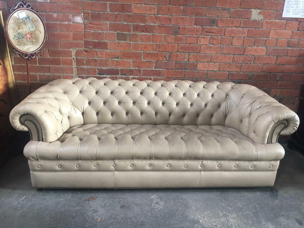 Cream Buttoned Chesterfield Leather Sofa   Others Avail   UK ...