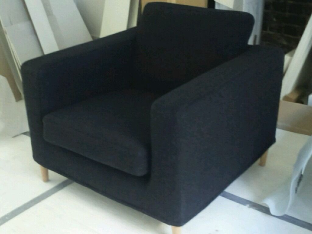 Merveilleux IKEA KARLSTAD ULLEVI CHARCOAL GREY CHAIR ARMCHAIR RARE RETRO WITH CONICAL  LEGS