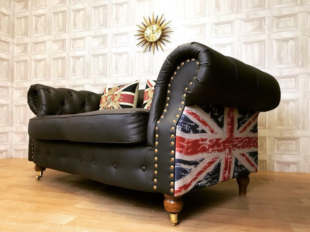 Chesterfield Sofa   2 Seater Union Jack Sides   Brown Leather