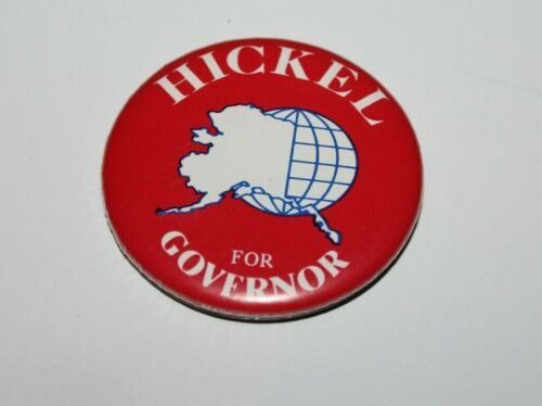 """HICKEL for Governor 2 1/4"""" Political Button Pin ~ Probably late 1980s"""