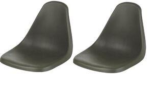 2 BOAT SEATS, PLASTIC MOLDED, DARK GREEN