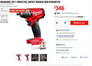 Milwaukee 18V 13mm (1/2 Inch) Impact Wrench