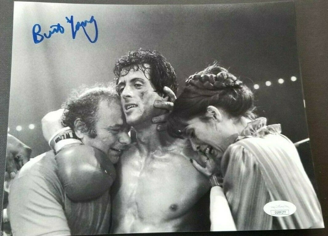 Burt young paulie signed 8x10 photo with rocky and adrian  jsa coa