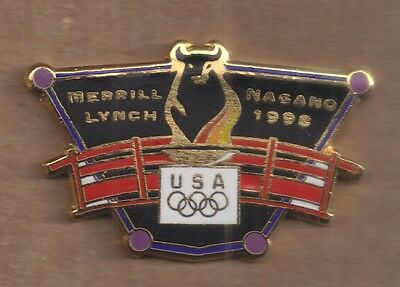 Used, 1998 Merrill Lynch Nagano Olympic Pin Bull USA Rings for sale  Cartersville