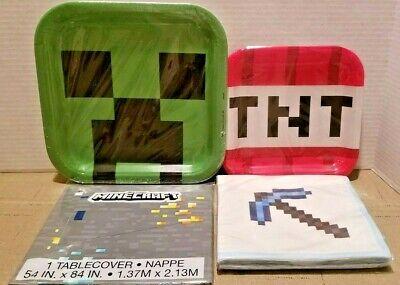 NEW! MINECRAFT PARTY SUPPLIES! PLATES, NAPKINS, TABLE COVER! OFF LICENSED! (Minecraft Party Plates)