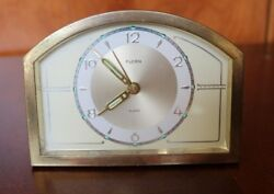 VINTAGE FLORN GERMANY GOLD TONE DESK ALARM CLOCK ( WORKING CONDITION)