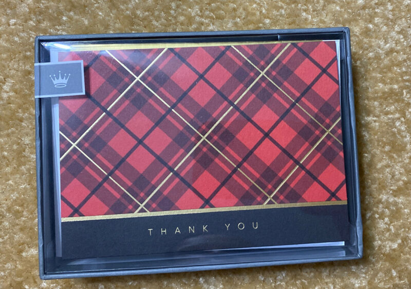 Hallmark Thank You Cards, Classic Plaid (10 Cards with Envelopes) 5CZE1865