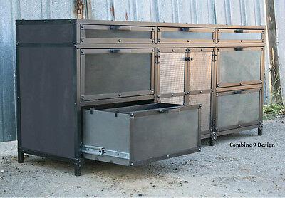 Vintage Industrialmid Century Modern File Cabinet. Custom Made. Filing Cabinet.