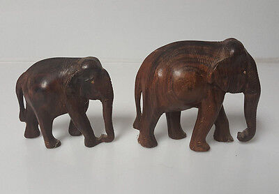 Vintage Elephants wood hand carved Family lot of 2