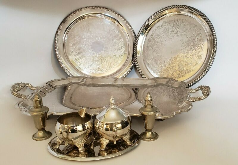 Lot Of Vintage Silver Plated Trays (4), Cream & Sugar, Salt & Pepper Shaker