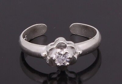 Silver Toe Ring Flower Shaped Adjustable With Cubic Zirconia Stone