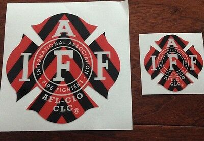 """ONE RED/BLACK IAFF Firefighter Union Chevron Reflective 3M Sticker Decal 4"""""""