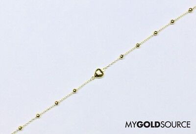 Fancy Puffed Heart - 14k Fancy Puffed Heart w/ Plain Beads Yellow Gold Anklet Adjustable 9-10 Inches