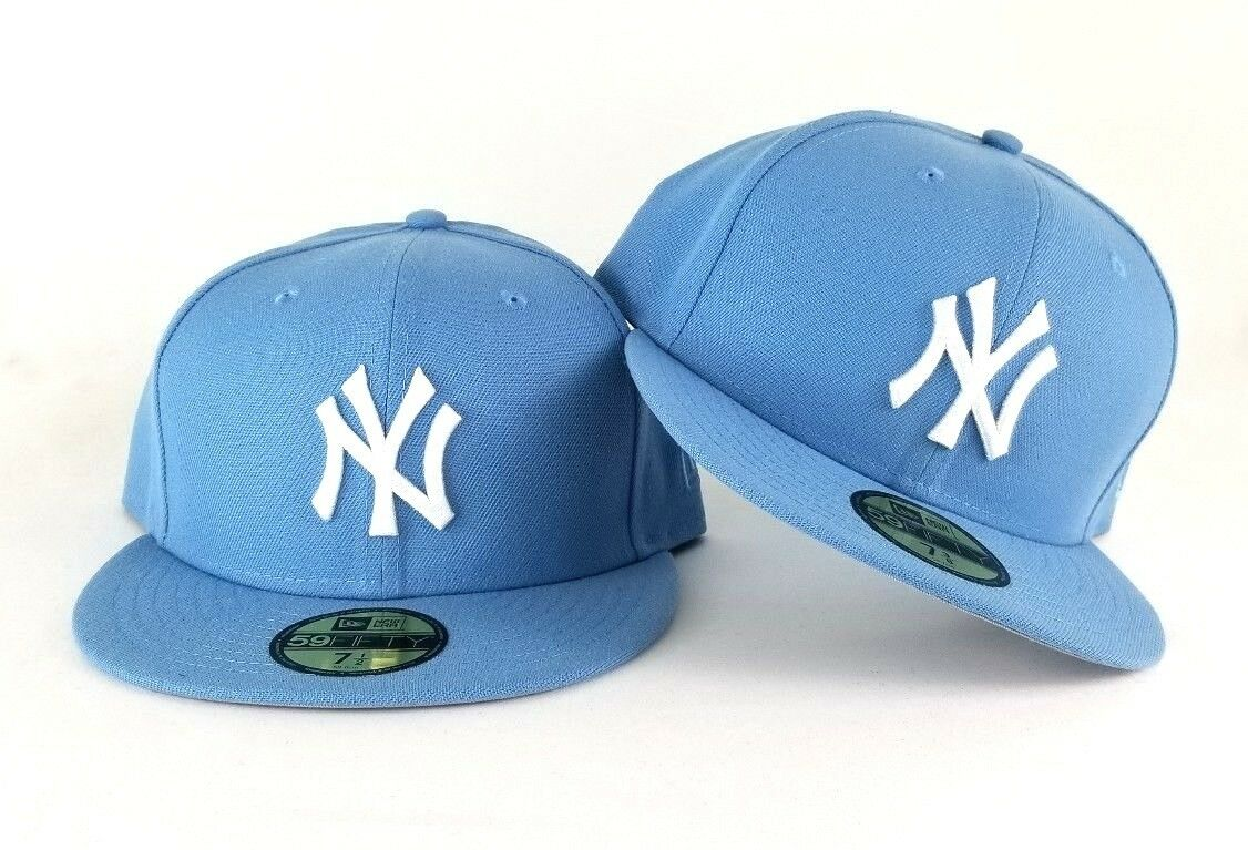 New Era Sky Blue New York Yankees 59Fifty Gray Bottom Fitted hat Cap ... b1ea5aa8887