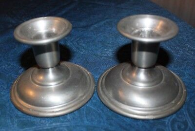 """Lot of 2 Vintage Yalesville Pewter Candle Holders 2-3/4"""" tall - l"""
