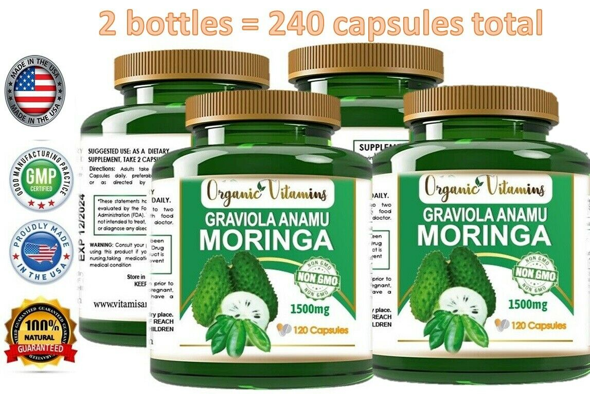 Moringa Oleifera Organic, Natural, 100% Pure Pills - 120 Count - 1 Pack  1