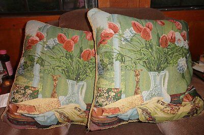 2 Arlee Home Fashions Floral Tulips Pictorial Square Throw Toss Pillows Blue Red