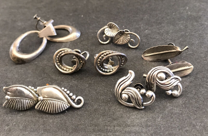 6 Pairs Vtg Sterling Silver Screwback Earrings Danecraft Beau Floral Abstract