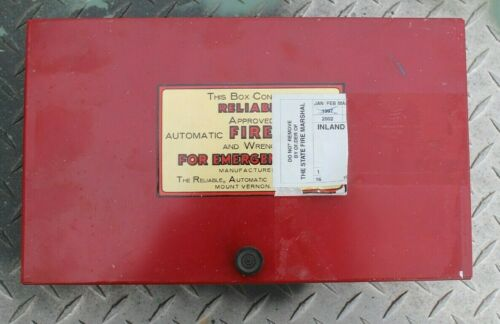 Vintage RELIABLE AUTOMATIC Fire Sprinkler Red Steel Box Mt Vernon NY With Wrench