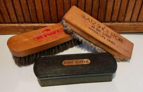 Vintage Lot Of 3 -KIWI Horse Hair BRUSH--*BLATZ SHOE STORE-MASSILLON, OH* PLUS 1