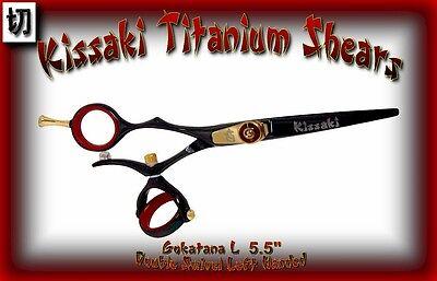 "Kissaki Left Hand Hair Scissors 5.5"" Gokatana L Black Red DO"