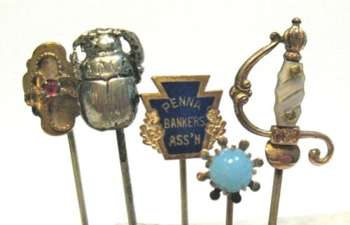 ANTIQUE VINTAGE STICK PIN LOT OF 5 PIECES GOLD FILLED GOLD TONED SILVER #1