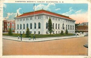 MANCHESTER-NH-CARPENTER-MEMORIAL-LIBRARY-POSTCARD-c1920