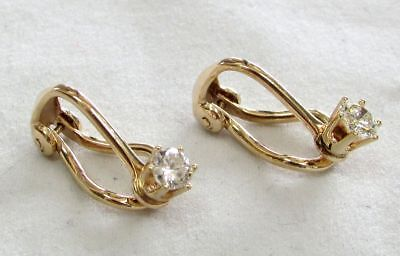 IMPRESSIVE 14K GOLD & .36ct DIAMOND OMEGA CLIP EARRINGS