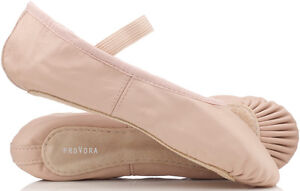 PINK-Leather-Ballet-Shoes-Childs-Adults-Sizes-Full-Sole-Pre-Sewn-Elastics