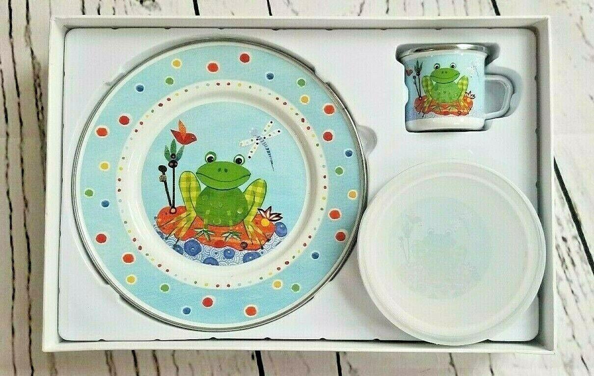 Golden Rabbit Child s 3 Pc Enamelware Plate Set Frog Spring P Carter Carpin New  - $22.49
