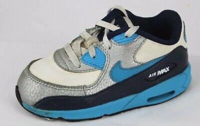 Nike Air Max Kleinkinder Kinder Leder Basketball Blau Weiß Schnürsenkel Größe 8c (Kleinkind Nike Basketball Schuhe)