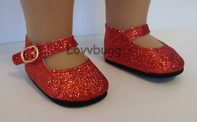 """Lovvbugg Red Ruby Slipper Sparkle Glitter Mary Janes for 18"""" American Girl or Bitty Baby Doll Shoes"""