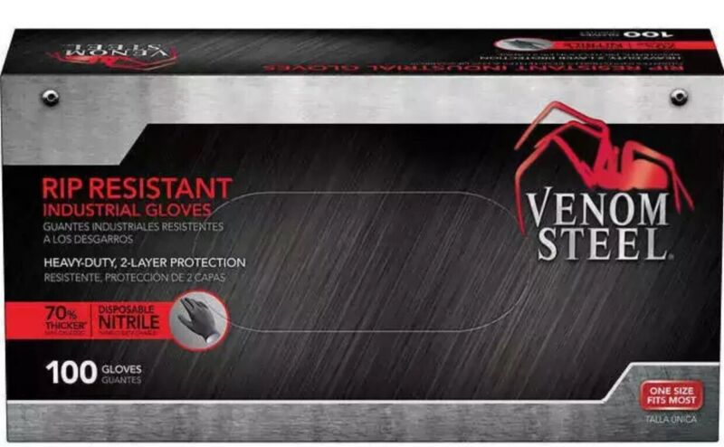 Venom Steel Nitrile 100 ct Gloves Heavy Duty 2 Layers One Size 70%Thicket
