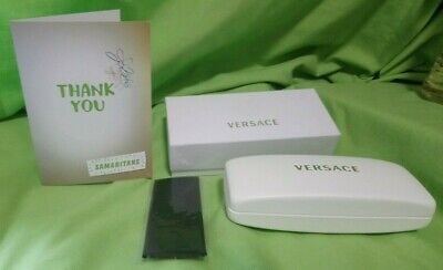 VERSACE White Hard Shell Glasses Case, includes Cleaning Cloth. Boxed