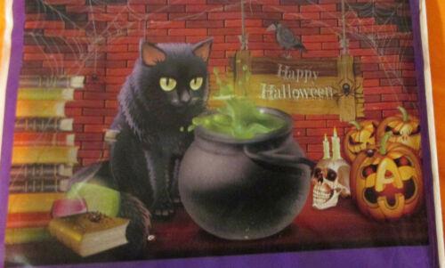 "Happy HALLOWEEN  42X72"" WALL Decoration - Kitten BLACK CAT WITCH Cauldron MURAL"