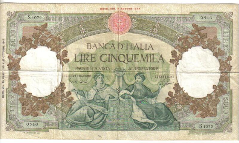 ITALY, 5000 LIRE, P#85d, (1947) 1961
