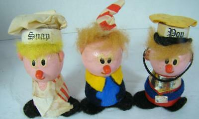 Vtg 1972 Kellogg Company Wooden Snap Crackle Pop Felt Figures Rare Advertising