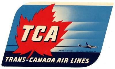 Vintage Trans Canada International Airlines Tca Luggage Label Montreal Quebec