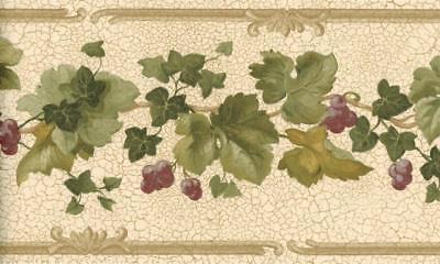 Rustic Grapes Vine Green Ivy Wallpaper Border Beige Brown Trim Country (Ivy Vine Wallpaper Border)