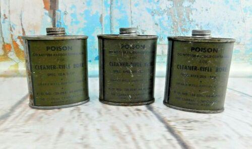 Vtg Military Clean Rifle Bore Gun Cleaner Tin Can Oil RIXS-205 Rev-1 2 ounce Lot