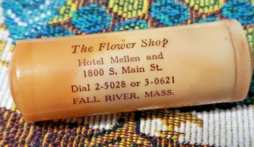 Bakelite Sewing Thread Winding Advertising Case The Flower Shop Fall River, MA