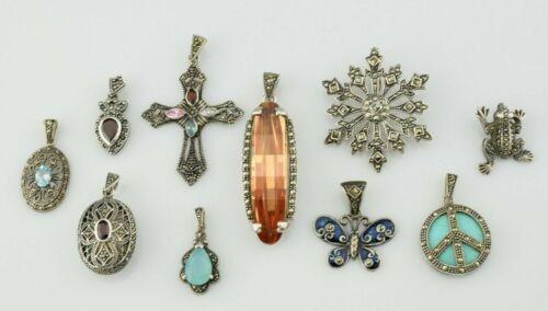 Lot of 10 - Sterling Silver Marcasite Multi Gemstones Pendants
