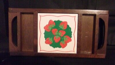WOOD SERVING TRAY w/CERAMIC CENTER PIECE DECORATED w/STRAWBERRIES