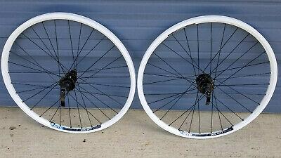 "white 26"" centerlock free ride bike wheels dual duty rims 32h"
