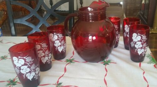 Vintage Anchor Hocking Ruby Red Tilt ball Pitcher w/ice lip & 6 Tumblers Glasses