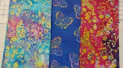 BATIK BUTTERFLIES 100% woven cotton Fabric Traditions 1 yd x 44